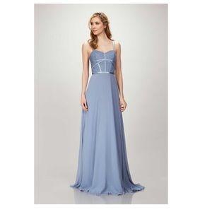 Theia blue bridesmaid dress